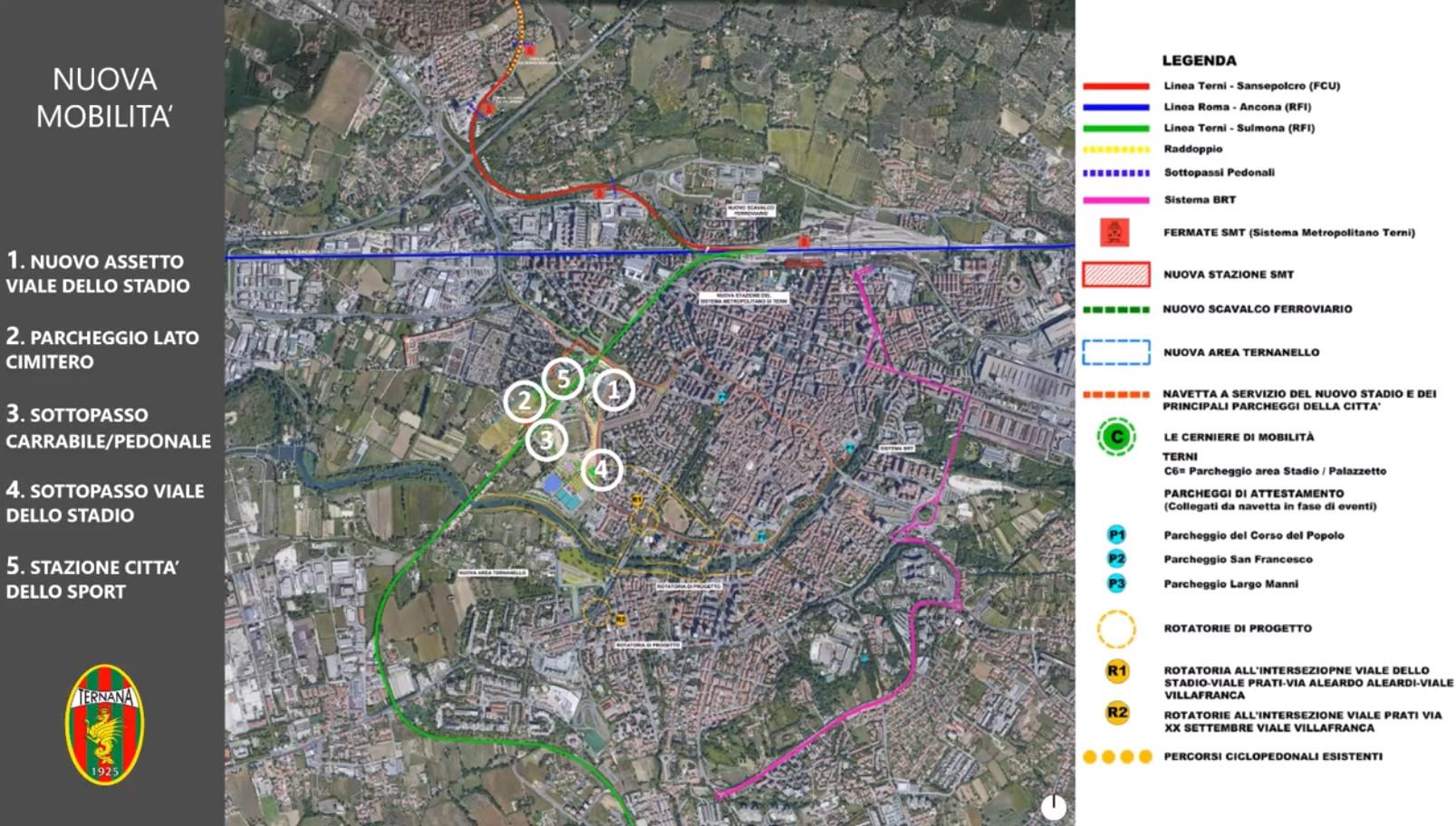 ternana progetto dati generali stadio fattibilità mobiltà