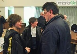 L'avvocato Bececco, il pm Massini e Leonardo Carloni