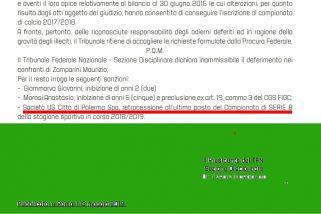 «Palermo retrocesso»: la sentenza del Tfn