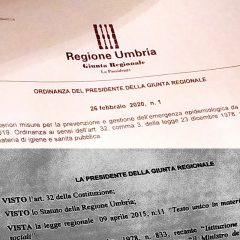 Coronavirus, l'ordinanza della Regione Umbria
