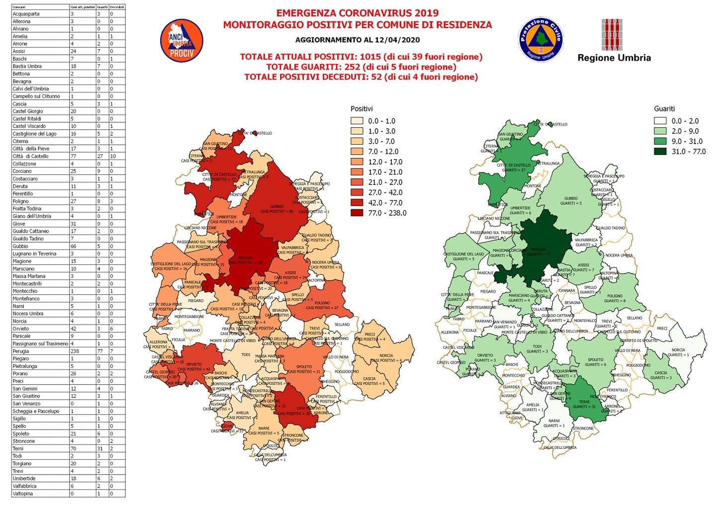 Umbria Cartina Comuni.Covid Mappa Comuni Umbria Al 12 Aprile Umbriaon