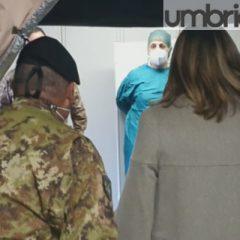Tesei e Bertolaso 'inaugurano' l'ospedale da campo di Perugia