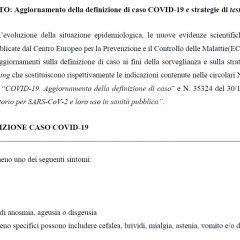Covid, aggiornamento definizione caso, test e varianti: circolari