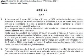 Covid, ordinanza Tesei valida dal 6 al 21 marzo – Documento